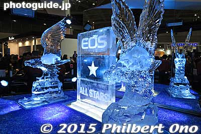 Ice sculpture of eagles at the Canon booth. It melts within a day so they built a new ice sculpture for each day of the show.